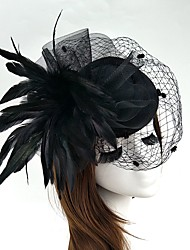 cheap -Feather / Net Fascinators / Flowers / Hats with Floral 1pc Wedding / Special Occasion / Horse Race Headpiece