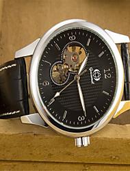 Недорогие -Муж. Модные часы Кварцевый Кожа Черный Аналоговый На каждый день - Серебристый / белый Черный / Серебристый