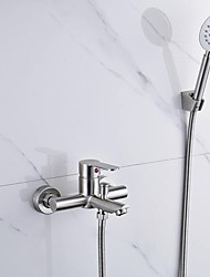 cheap -Bathtub Faucet - Contemporary Nickel Brushed Wall Mounted Ceramic Valve Bath Shower Mixer Taps / Single Handle Two Holes