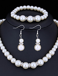 cheap -Women's Crystal Jewelry Set Ladies Basic Imitation Pearl Earrings Jewelry White For Christmas Gifts Wedding Party Special Occasion Anniversary Birthday