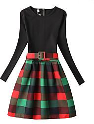 cheap -Kids Girls' Check Long Sleeve Dress Green