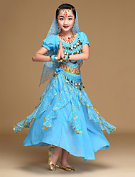 cheap -Belly Dance Outfits Performance Chiffon Sequin / Gold Coin Short Sleeves Top / Skirt / Headwear