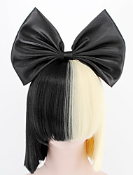 cheap -Synthetic Wig Cosplay Wig Straight Kardashian Straight With Bangs Wig Blonde Short Natural Black Synthetic Hair Women's Bows Black Blonde