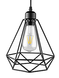 Недорогие -старинная черная металлическая клетка чердак мини-подвеска фары гостиная столовая прихожая кафе бары светильник