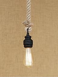 abordables -La lumière pendante de corde de chanvre a peint la lumière ambiante finit le style en métal mini, les concepteurs 110-120v / ampoule de 220-240v inclus / e26 / e27