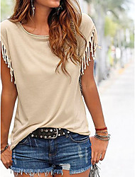 cheap -Women's Daily Butterfly Sleeves Cotton T-shirt - Solid Colored Tassel Fringe Black / Summer