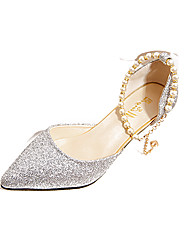 cheap -Women's Heels Stiletto Heel Pointed Toe Imitation Pearl PU(Polyurethane) Comfort Spring / Summer Gold / Black / Silver / Dress / EU39