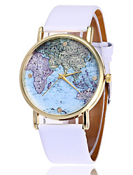 cheap -Women's Wrist Watch World Map Quartz Quilted PU Leather Black / White Cool Analog Ladies Fashion World Map - White Black Brown