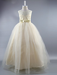 cheap -Ball Gown Ankle Length Wedding / First Communion / Pageant Flower Girl Dresses - Satin Sleeveless Jewel Neck with Lace / Sash / Ribbon / Draping / Elegant / Beautiful Back / See Through
