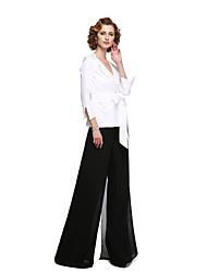 cheap -Sheath / Column / Pantsuit / Jumpsuit V Neck Floor Length Chiffon / Stretch Satin 3/4 Length Sleeve Elegant Mother of the Bride Dress with Sash / Ribbon 2020