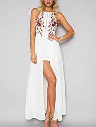 cheap -Women's Embroidery Party Going out Beach Street chic Maxi Sheath Swing Dress - Floral White, Backless Cut Out Criss Cross Square Neck Summer Cotton White Black Navy Blue M L XL