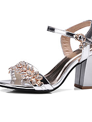 cheap -Women's Sandals Crystal Sandals Chunky Heel Round Toe Rhinestone / Buckle PU(Polyurethane) Club Shoes Summer / Fall Black / Silver / Pink / Wedding