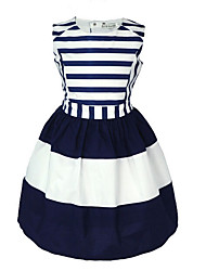 cheap -Toddler Girls' Sweet Daily Holiday Blue & White Striped Sleeveless Dress Navy Blue