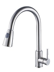 cheap -Kitchen faucet - Single Handle One Hole Nickel Brushed Pull-out / ­Pull-down / Tall / ­High Arc Deck Mounted Contemporary Kitchen Taps / Stainless Steel