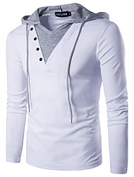 cheap -Men's Solid Colored Patchwork Slim T-shirt - Cotton Active Street chic Daily Weekend Hooded White / Black / Long Sleeve