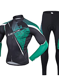 cheap -Realtoo Men's Long Sleeve Cycling Jersey with Tights Black / Green Bike Clothing Suit Breathable 3D Pad Quick Dry Ultraviolet Resistant Back Pocket Sports Lycra Classic Mountain Bike MTB Road Bike