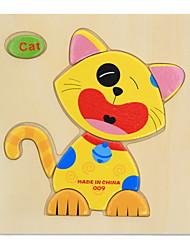 cheap -1 pcs Educational Flash Card Jigsaw Puzzle Wooden Puzzle Pegged Puzzle Educational Toy Animals Fun DIY Classic Cartoon Kid's Toy Gift