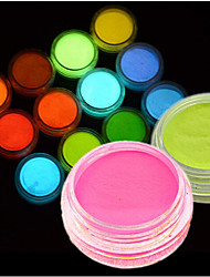 cheap -1pc Fluorescent Powder DIY Bright Nail Art Glow In The Dark Sand Powder Pigment Dust Luminous Nail Glitter Holographic Glitter