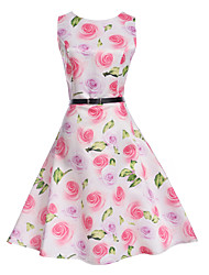 cheap -Kids Girls' Floral Daily Holiday Going out Print Sleeveless Dress White
