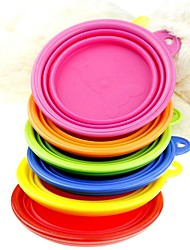 cheap -Cat Dog Bowls & Water Bottles Silicone Foldable Solid Colored Green Blue Pink Bowls & Feeding
