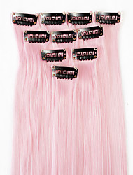 cheap -neitsi 10pcs 18inch colored highlight synthetic clip on in hair extensions light pink