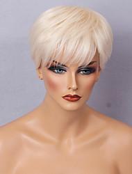 cheap -Human Hair Capless Wigs Human Hair Straight / Classic Short Hairstyles 2019 Machine Made Wig Daily