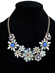 cheap -Women's Crystal Statement Necklace Flower Flower Ladies Fashion Euramerican Crystal Resin Rhinestone Black Light Green Pink Necklace Jewelry For Wedding Party Special Occasion