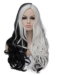 cheap -the european and american fashion daily double long curly hair party cos wig black and white 1408 Halloween