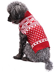 cheap -Cat Dog Coat Sweater Christmas Winter Dog Clothes Red Costume Acrylic Fibers Snowflake Fashion Christmas XXS XS S M