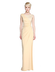 cheap -Sheath / Column Jewel Neck Floor Length Lace / Jersey Bridesmaid Dress with Split Front / Pleats