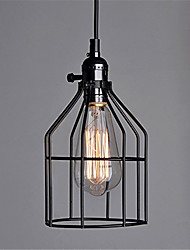 cheap -Vintage Black Metal Cage With Switch Loft Pendant Lights Living Room Dining Room Hallway Cafe Bars Clothing Store Light