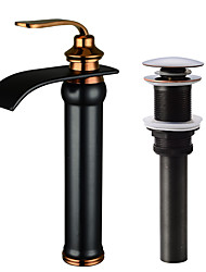 cheap -Refined, high-end, Beautiful Waterfall Oil-rubbed Bronze Centerset Single Handle One HoleBath Taps-Faucet Set