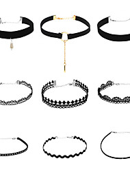 cheap -Women's Choker Necklace Pendant Necklace Chain Necklace Tassel Single Strand Ladies Personalized Dangling Tassel Basic Gothic Lace Earrings Jewelry Black For Business Daily Casual Outdoor Office