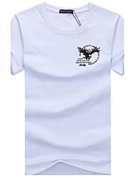 abordables -Tee-shirt Grandes Tailles Homme, Graphique - Coton Imprimé Sports Basique Col Arrondi Mince Gris / Manches Courtes / Eté