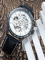 Недорогие -Муж. Модные часы Кварцевый Кожа Черный Аналоговый На каждый день - Серебристый / белый Черный / Серебристый Белый / Золотистый