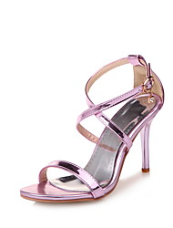 cheap -Women's Sandals Stiletto Heel Open Toe Buckle Patent Leather Comfort Walking Shoes Spring / Summer Purple / Gold / Silver
