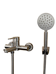 cheap -Contemporary Modern Tub And Shower Widespread Ceramic Valve Two Holes Single Handle Two Holes Stainless Steel, Bathtub Faucet