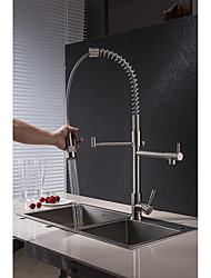 cheap -Kitchen faucet - Two Handles One Hole Nickel Brushed Pull-out / Pull-down Vessel Art Deco / Retro Kitchen Taps