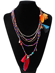 cheap -Women's Statement Necklace Long Necklace Bib Pom Pom Ladies Unique Design Bohemian Boho Feather Alloy Rainbow Light Blue Dark Green Necklace Jewelry For Party Daily Casual
