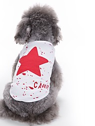 cheap -Cat Dog Vest Dog Clothes Stars Red Blue Black Cotton Costume For Summer Men's Women's Casual / Daily Fashion