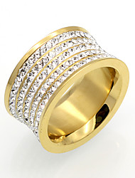 cheap -Men's Women's Band Ring AAA Cubic Zirconia Gold Silver 18K Gold Plated Cubic Zirconia Titanium Steel Round Circular Circle Personalized Geometric Classic Wedding Party Jewelry