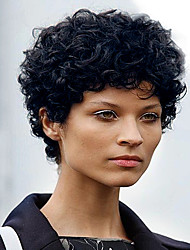 cheap -Synthetic Wig Curly Curly Wig Short Jet Black Synthetic Hair Women's Black MAYSU