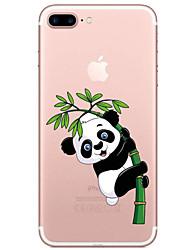 cheap -Case For Apple iPhone 7 Plus / iPhone 7 / iPhone 6s Plus Transparent / Pattern Back Cover Cartoon / Panda Soft TPU