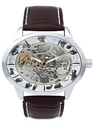 Недорогие -Муж. Модные часы Кварцевый Кожа Черный / Коричневый Аналоговый На каждый день - Золотой Серебряный