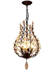 Недорогие -LightMyself™ 4-Light 35 cm Хрусталь / Мини Люстры и лампы Металл Кристаллы черный Современный современный 110-120Вольт / 220-240Вольт