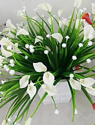 abordables -1 bouquet artificiel mini lis fleur de soie simulation calla fleur bouquet fausse herbe plantes aquatiques pour la nouvelle maison chambre décoration lavable