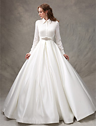 cheap -Ball Gown High Neck Sweep / Brush Train Satin Long Sleeve Glamorous Sparkle & Shine Wedding Dresses with Bowknot / Sash / Ribbon / Beading 2020