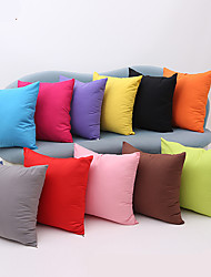 cheap -1 pcs Cotton Pillow Cover, Solid Colored Multicolor Simple Square Zipper Traditional Classic