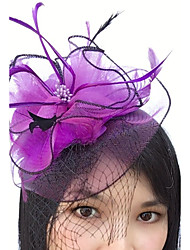 cheap -Feather / Net Fascinators / Headwear / Birdcage Veils with Floral 1pc Wedding / Special Occasion Headpiece