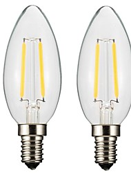 cheap -ONDENN 2pcs 2 W LED Filament Bulbs 150-200 lm E14 E12 CA35 2 LED Beads COB Dimmable Warm White 220-240 V 110-130 V / 2 pcs / RoHS / CE Certified